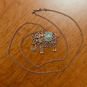 Gold Elephant Pendant Necklace with Teal Accent